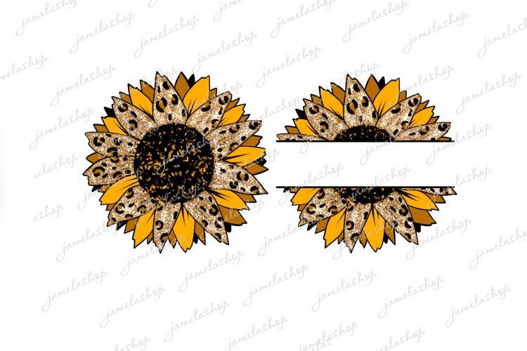 Split glitter cheetah Sunflower PNG Monogram flower clip art example image 1