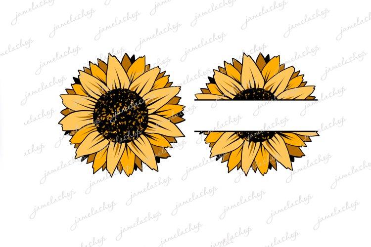 Split Sunflower PNG Monogram flower clip art example image 1