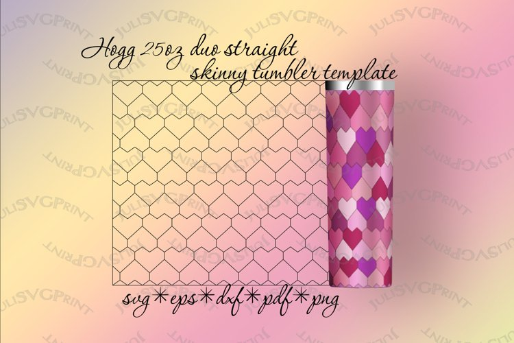 Hearts tumbler template for Hogg 25 oz DUO straight, svg example image 1