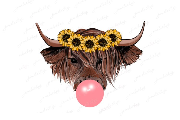 Highland cow with bubble gum and sunflowers wreath PNG example image 1