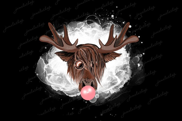 Moose with bubble gum PNG Funny Deer on bleached clipart example image 1