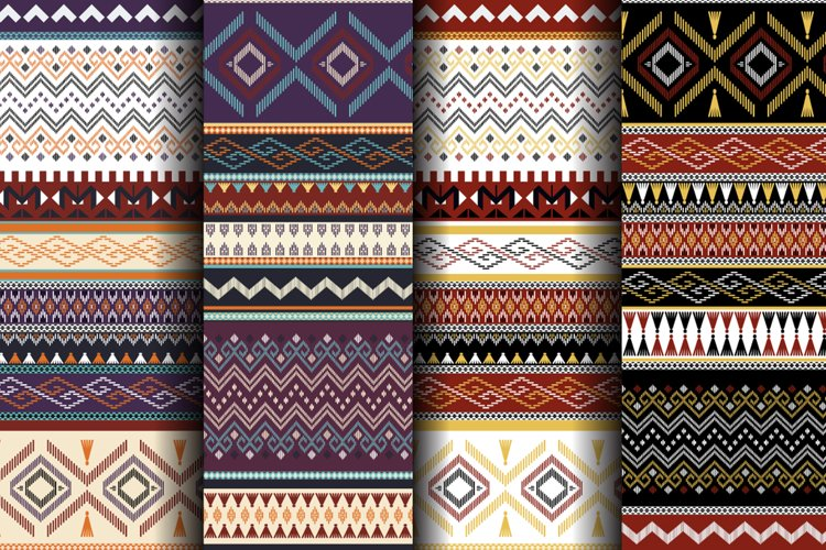 Seamless Tribal Patterns. Vector Backgrounds