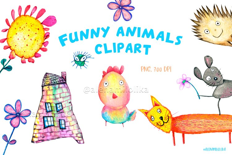Watercolor cartoon clipart. Funny baby animals. example image 1