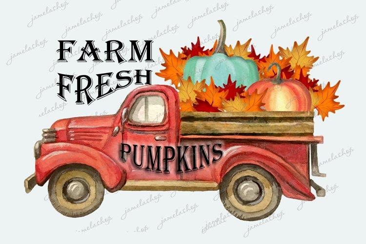 Farm fresh pumpkins truck clipart PNGfor sublimation example image 1