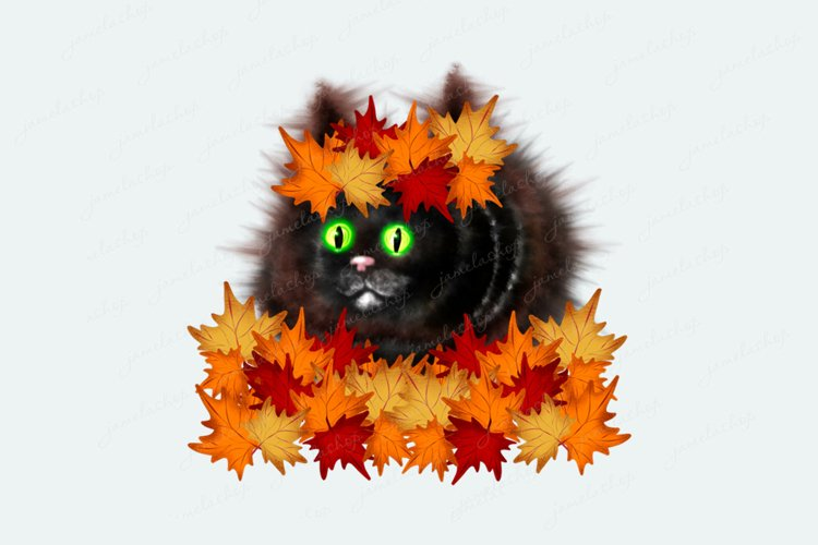 Cat with maple leafs wreath clipart, Autumn PNG sublimation example image 1