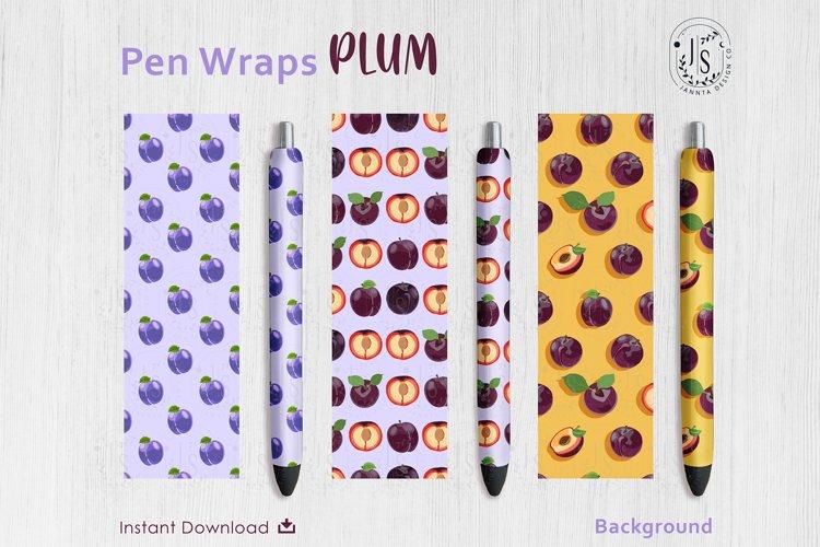 Plum Fruit Pen Wraps PNG File Set example image 1