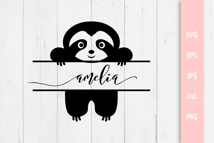 Cute Sloth Custom Name SVG File example image 1