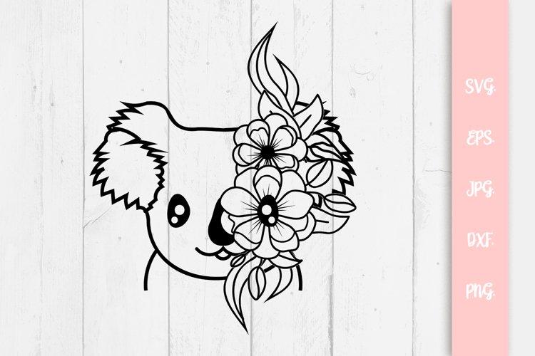 Floral Cute Koala Bear SVG File