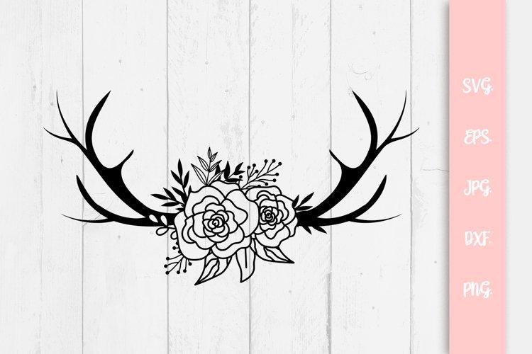 Floral Deer With Antlers SVG File