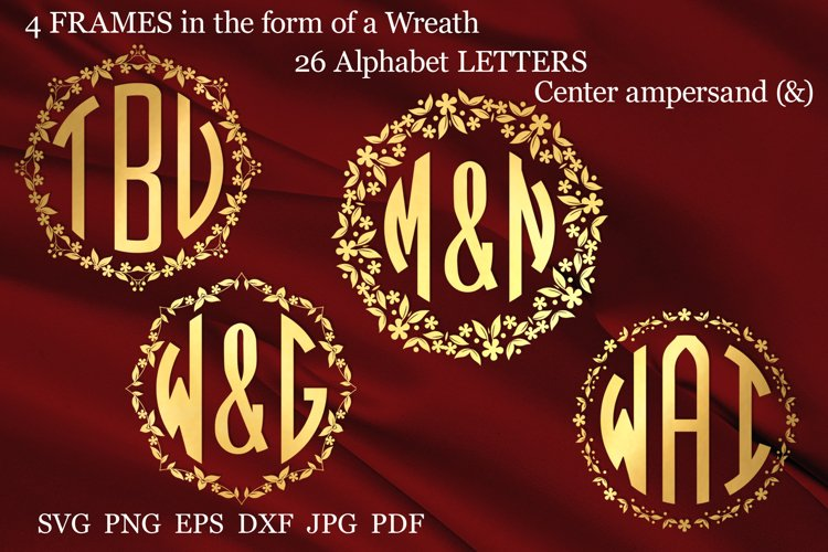Monogram svg Wedding monogram font svg Circle monogram svg
