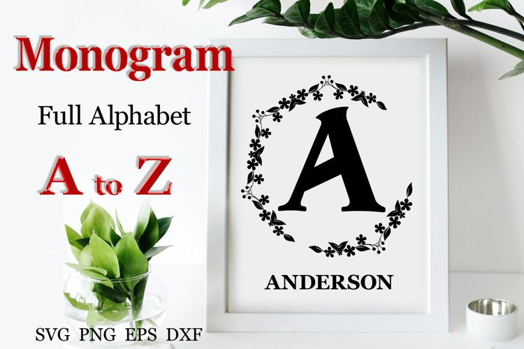 26 Monogram SVG Wedding svg Wreath svg Wedding font