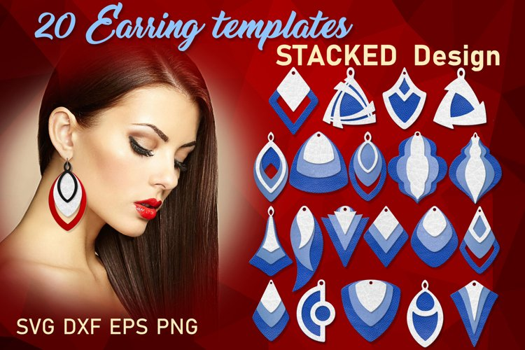 Stacked earring svg bundle Geometric earring templates