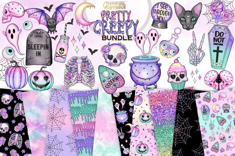 Pastel goth clipart and seamless pattern bundle