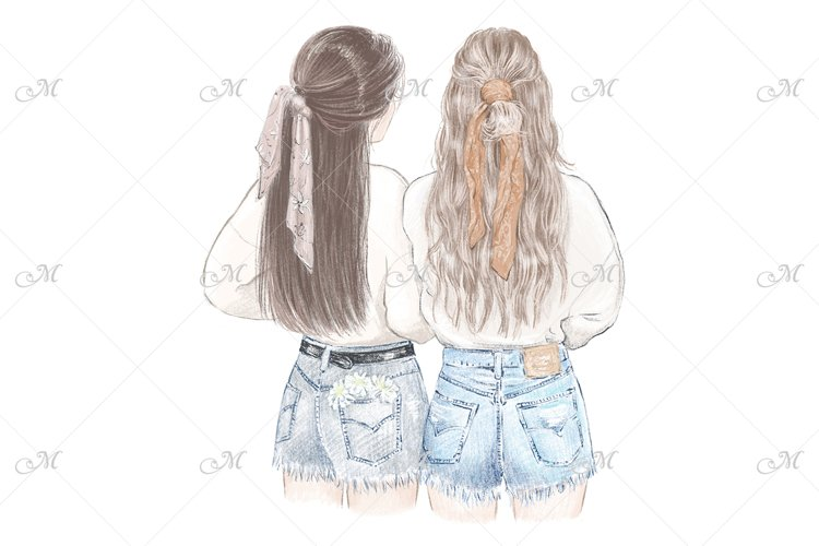 Best Friends in Sweatshirts Illustration - PNG/JPEG/PSD