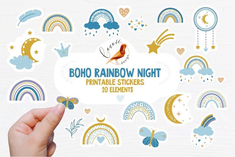 BOHO RAINBOW NIGHT Printable stickers