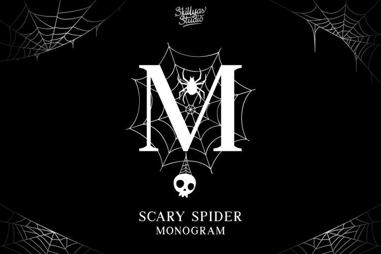 Scary Spider Monogram Font - Split Letter example image 1
