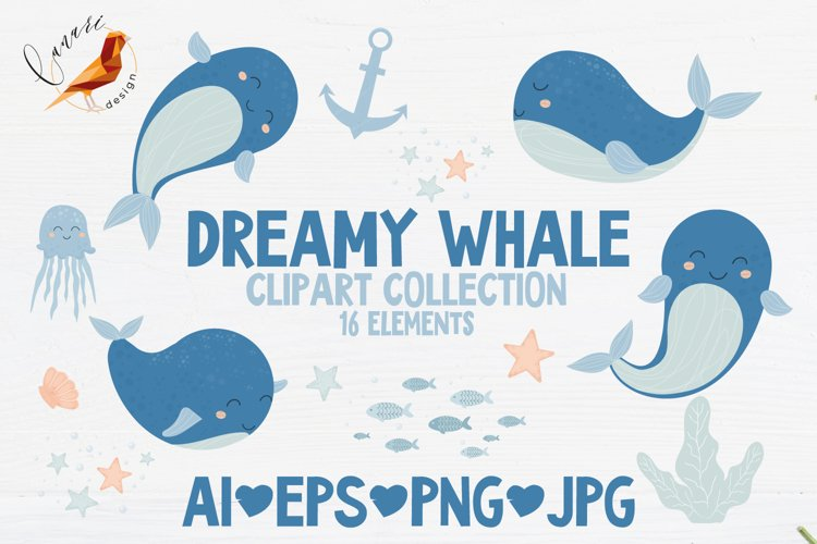 DREAMY WHALE Clip art collection