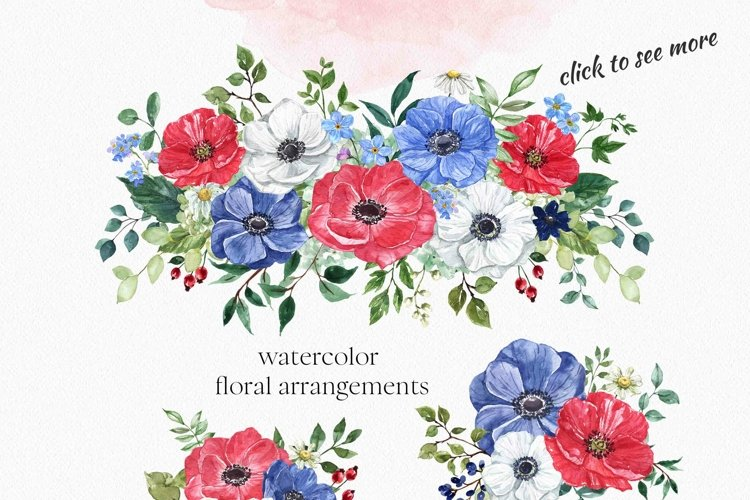 Watercolor Flowers Clipart Red White Navy Blue Floral Wreath
