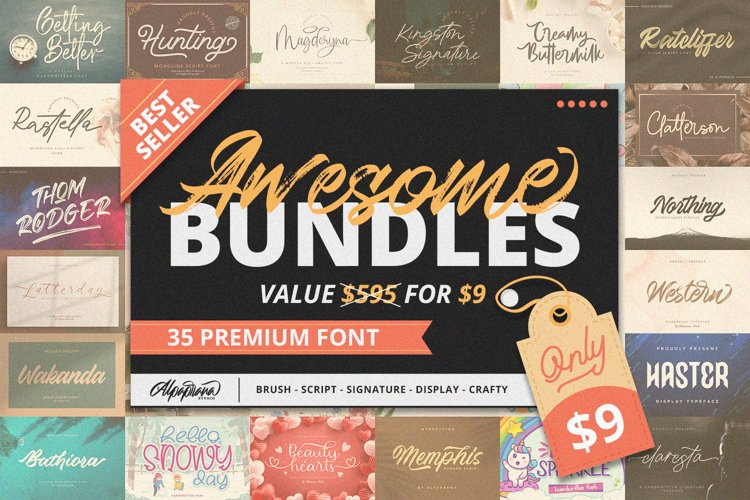 Awesome Bundles | 35 Best Seller Font Collection example image 1