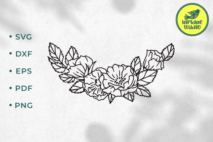Floral border SVG, Roses floral wedding garland cut file