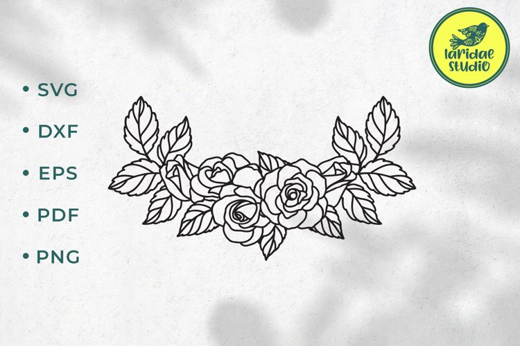 Rose border SVG, Roses floral wedding garland cut file example image 1