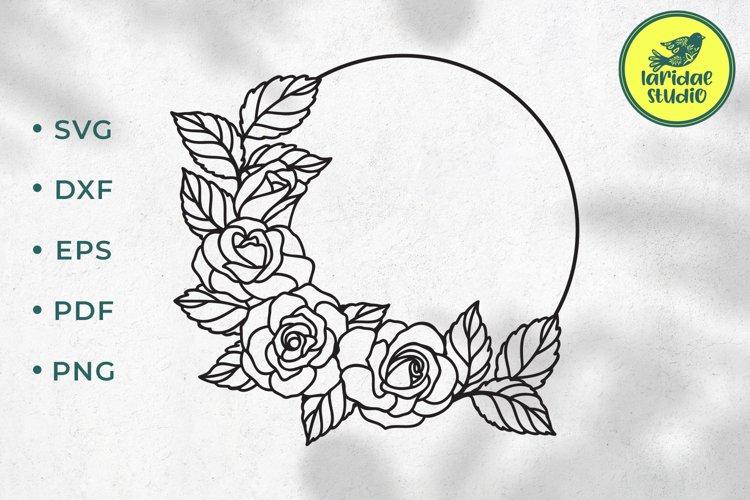Rose circle frame SVG, Flower Monogram border