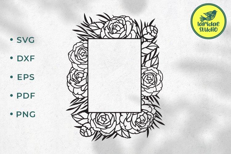 Flower square frame SVG, Floral monogram frame cutting file