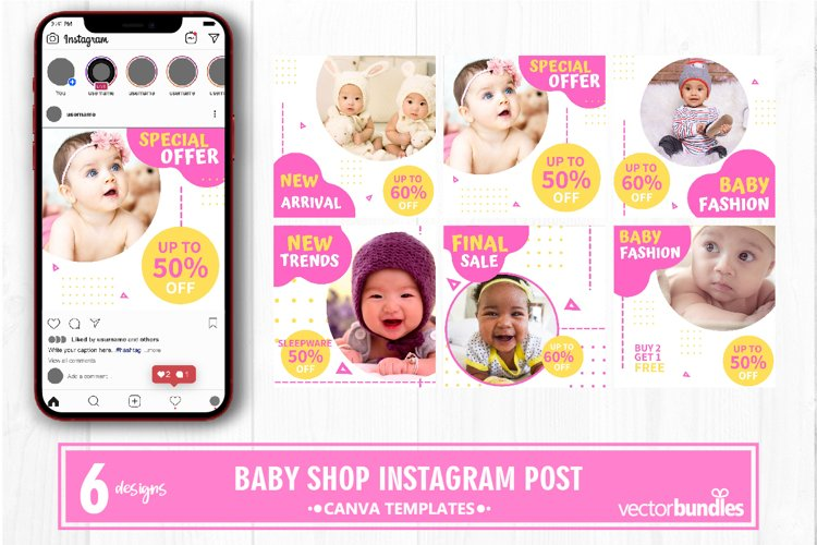 Baby shop instagram post canva template example image 1