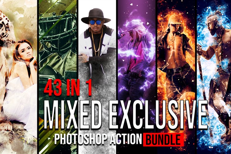 43 in 1 Mixed Exclusive Photoshop Action Bundle