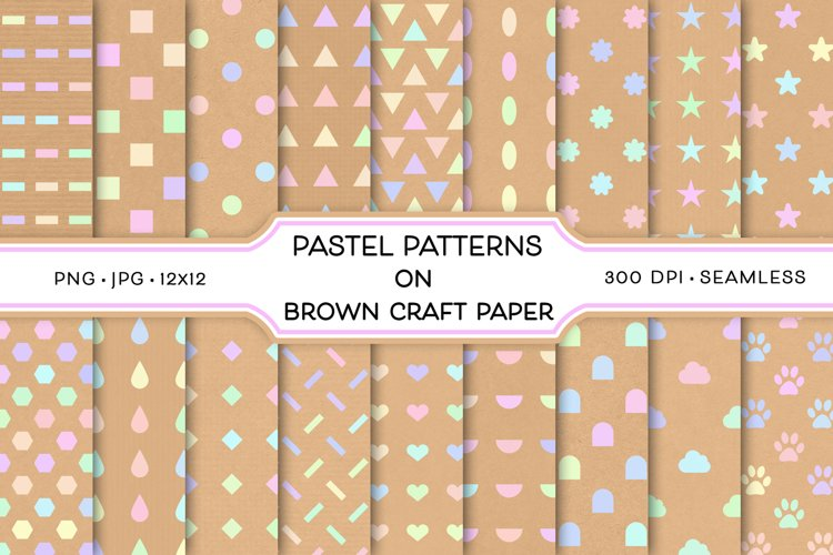 Pastel Patterns on Brown Craft Paper