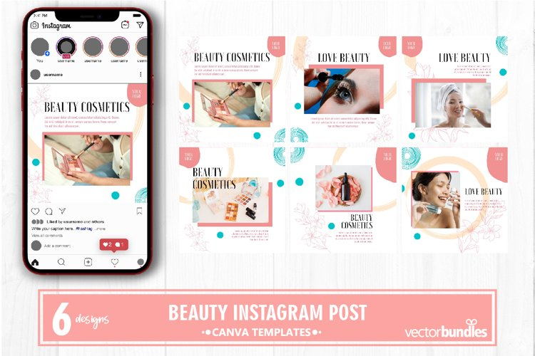Beauty makeup instagram post canva template example image 1
