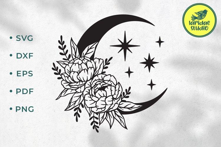 Floral Boho Moon svg, Celestial Crescent Flower Luna clipart