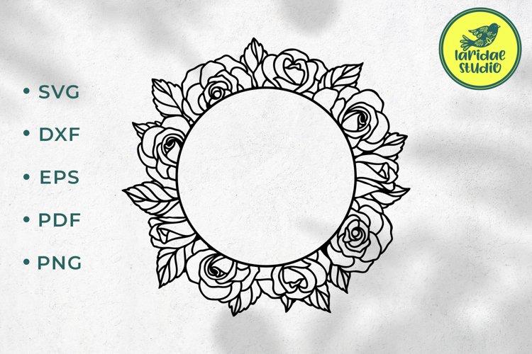 Rose wreath SVG, Circle floral wedding frame cut file