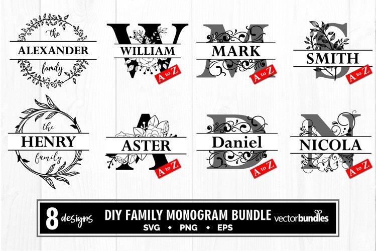Family monogram split letter diy bundle svg example image 1