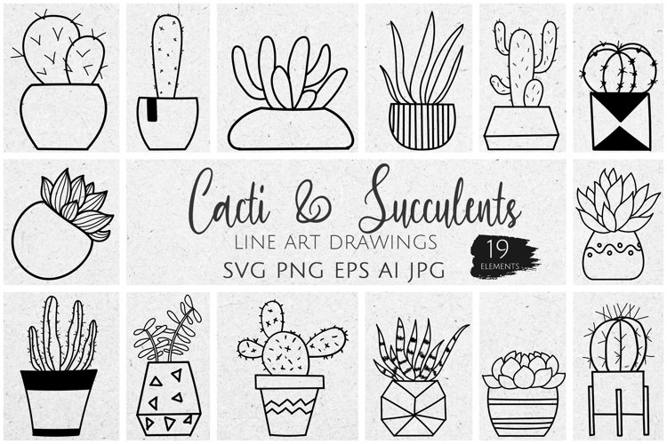 19 Vector Potted Cacti & Succulents Line Art SVG