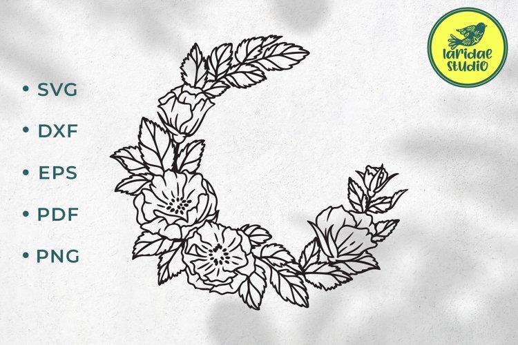 Floral wreath SVG, Rose circle frame, Wedding monogram