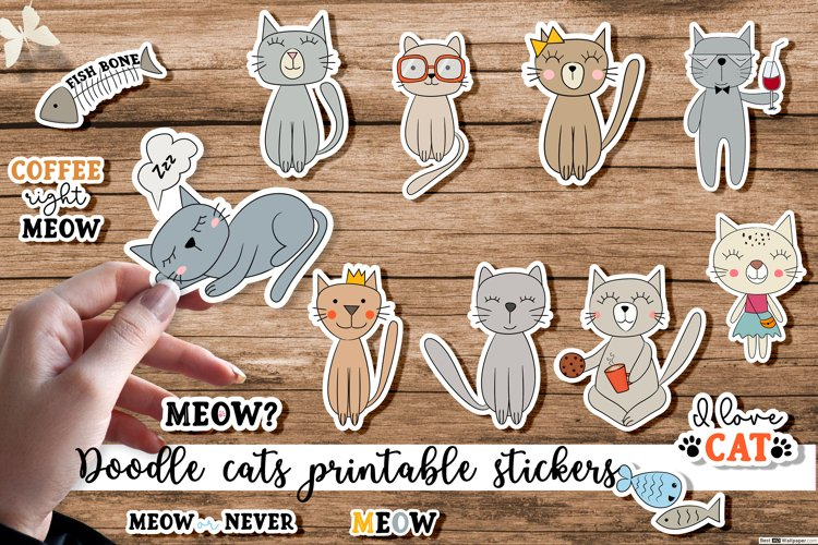 Doodle cats printable cricut stickers. PNG, JPG, EPS. example image 1