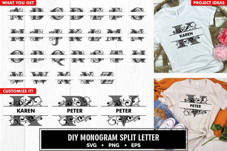 Monogram split letter a to z decorative svg cut file