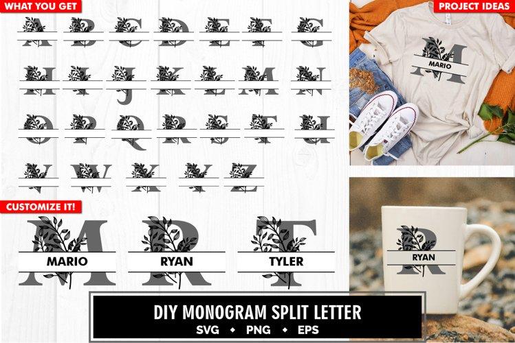 Monogram split letter a to z leaf svg cut file