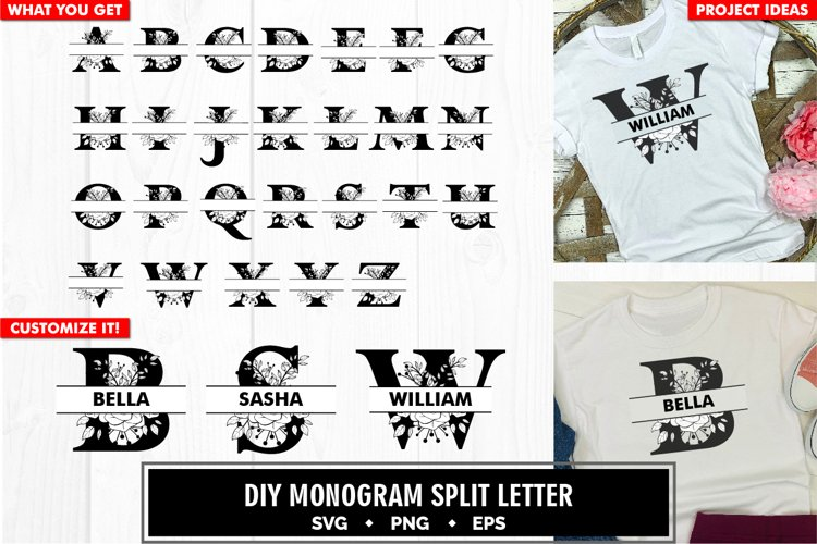 Monogram floral split letter a to z svg cut file