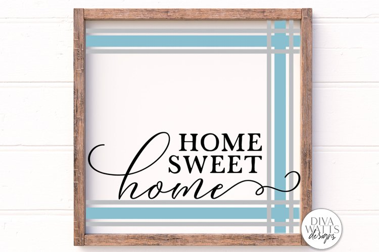 Home Sweet Home Plaid SVG | Ticking Stripes Frame Sign | DXF example image 1