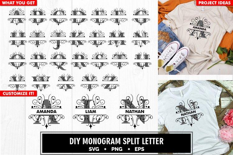 Monogram ornamental split letter a to z svg cut file