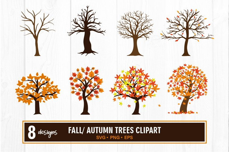 Fall tree clipart bundle svg example image 1