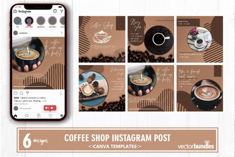 Coffee shop instagram post canva template volume 1 example image 1