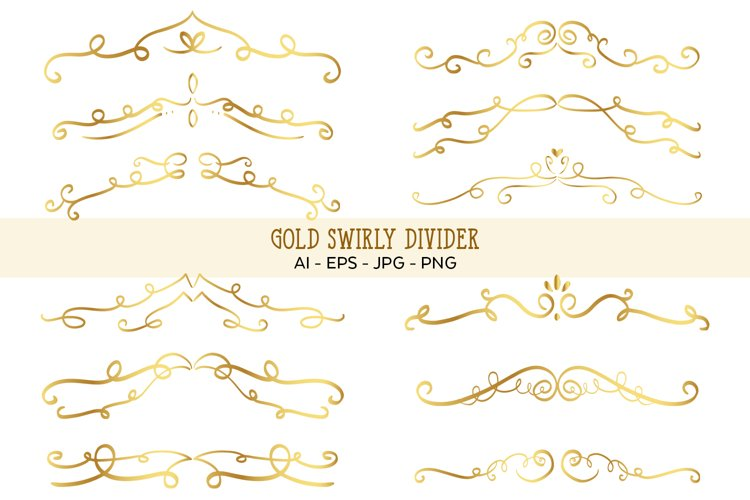 Gold Swirly Divider Vector Clipart