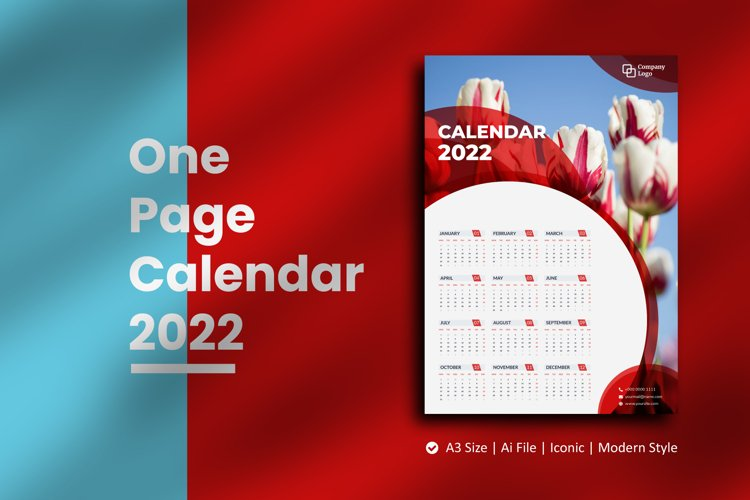 Red Circle One Page Calendar 2022