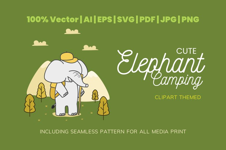 Cute Elephant Camping Themed Illustration Plus Pattern