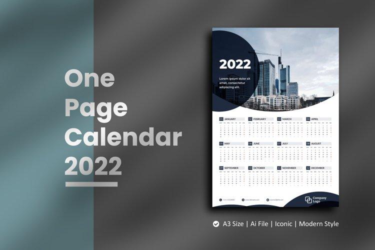 Black Circle One Page Calendar 2022