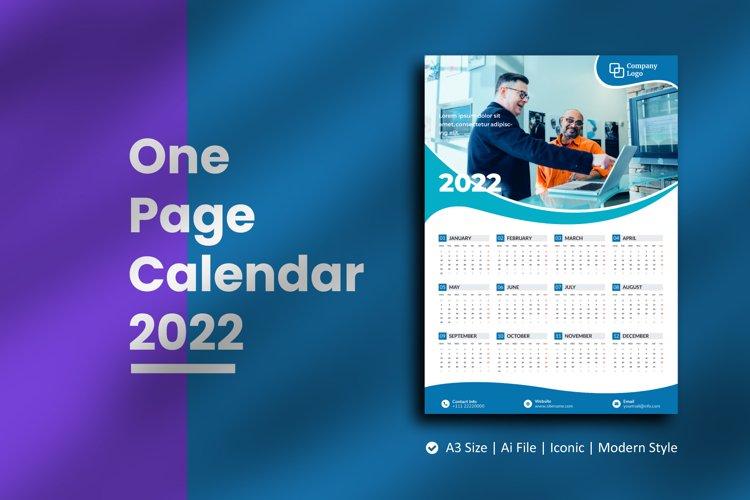 Blue Wave One Page Calendar 2022