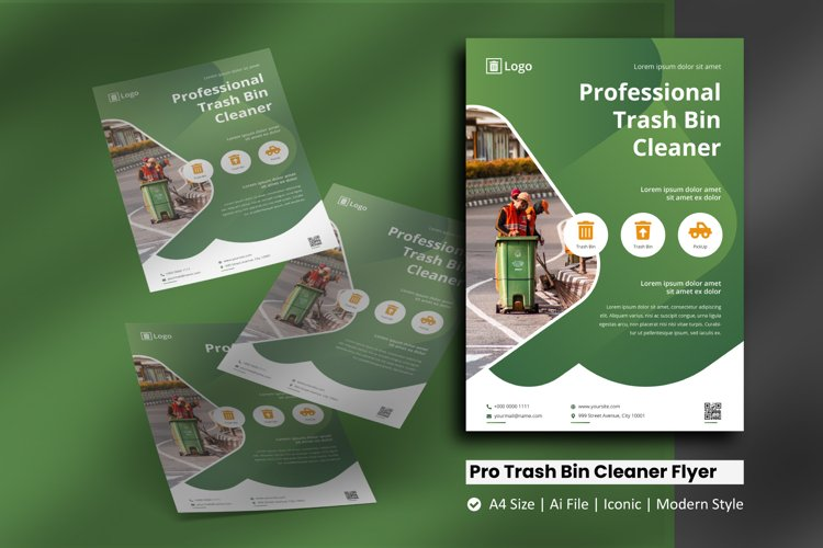 Professional Trash Bin Cleaner Flyer Template example image 1